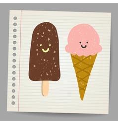 Ice cream doodle vector image vector image
