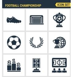 Icons set premium quality of football championship vector image