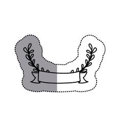 monochrome contour sticker with decorative half vector image vector image