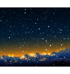 Night winter landscape with snow vector image