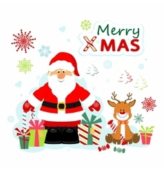 Santa Claus and Rudolf vector image vector image
