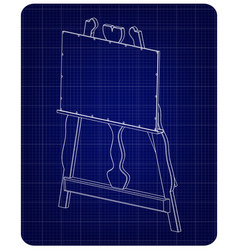 3d model of easel on a blue vector