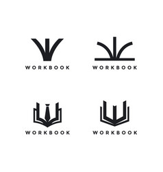 Abstract letter w and book for workbook logo icon vector