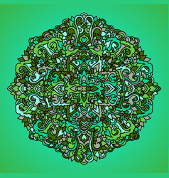 abstract mandala ornament asian pattern green vector image