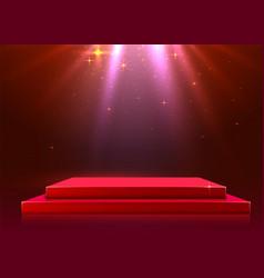 Abstract podium illuminated with spotlight award vector
