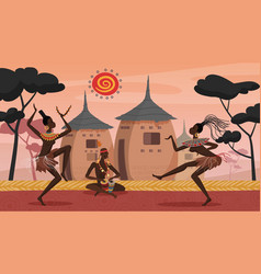 African people dance on ethnic ritual ceremony vector