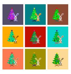 Assembly flat christmas tree rabbit vector