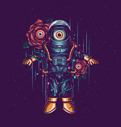 astronaut and flower alien vector image