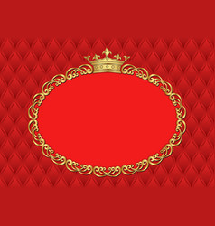 Background with golden frame and crown vector