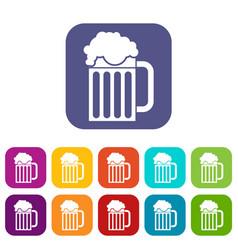 beer mug icons set vector image
