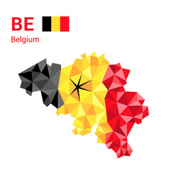 belgium flag map in polygonal geometric style vector image