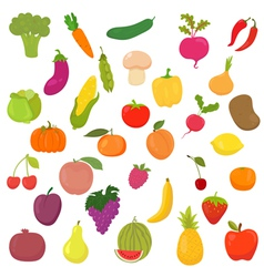 Big collection of vegetables and fruits Healthy vector