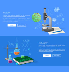 biology and chemistry courses info internet page vector image