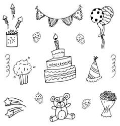Birthday doodle art vector