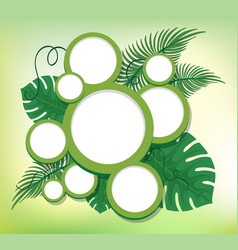 Border design with round frames on green leaves vector