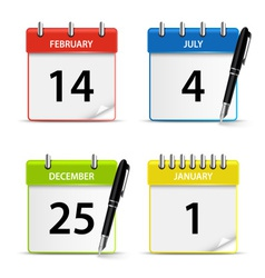 Calendar web colored icons template vector