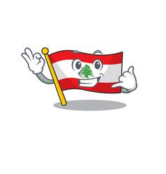 Call me flag lebanon with character shape vector