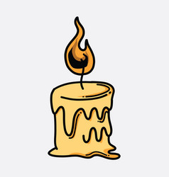 candle doodle color icon drawing sketch hand vector image