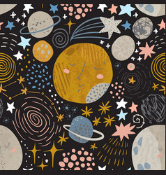 Cartoon cosmic background cute planets moon vector