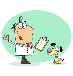 Caucasian Cartoon Canine Veterinarian Man vector image