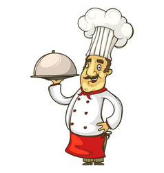 cheerful cook in a red apron and tie vector image