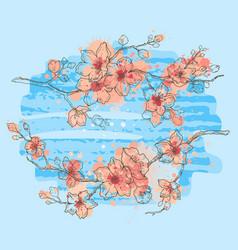 cherry blossom living coral spring sakura vector image