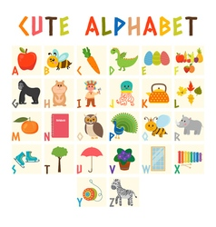 Children alphabet with cute cartoon animals and vector