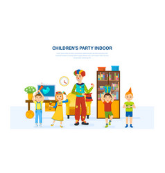 children have fun with a clown home in room vector image