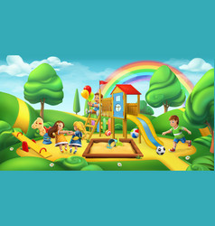 Children playground nature landscape park 3d vector