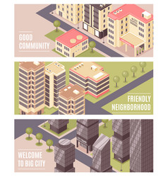 City buildings isometric banners vector