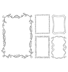 Collection of frames with swirls rectangular shape vector