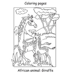 Coloring giraffe vector