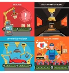 Conveyor icons set vector
