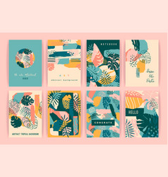Creative set templates with tropical plants and vector