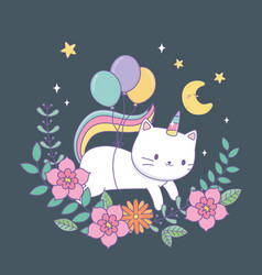 cute capricorn with floral decoration at night vector image