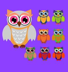 Cute cartoon owls set for bashowers birthdays vector