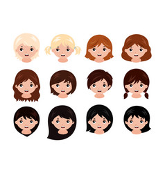 cute little girls head with different hairstyles vector image