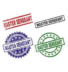 Damaged textured master sergeant stamp seals vector