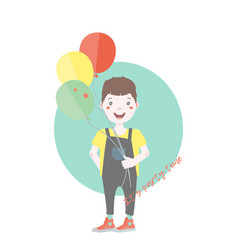 Dark haired young character with balloons vector