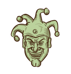 Demented medieval court jester drawing vector