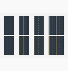 Different road lines in set top view vector