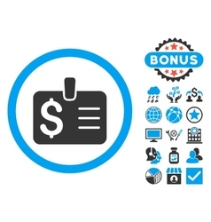 Dollar Badge Flat Icon with Bonus vector