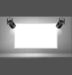 empty white frame and hanging spotlights in museum vector image