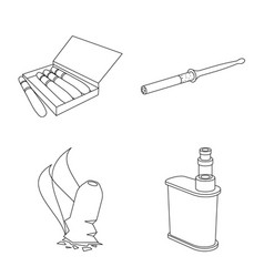 equipment and smoking icon vector image