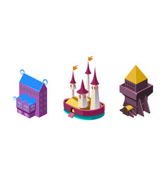 Fairy castle fortress fantasy design element for vector