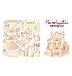 flat line castle sand sandcastle creator maker vector image