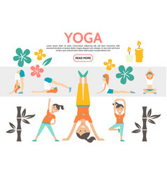 Flat yoga elements set vector