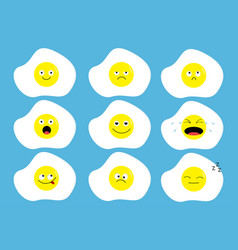 fried egg icon emoji set funny kawaii cartoon vector image