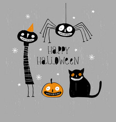 funny hand drawn happy halloween card vector image