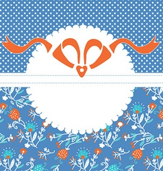 Greeting card template with frame and pattern with vector image